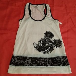 Disney Mickey Mouse White & Black Tank Top MD NEW